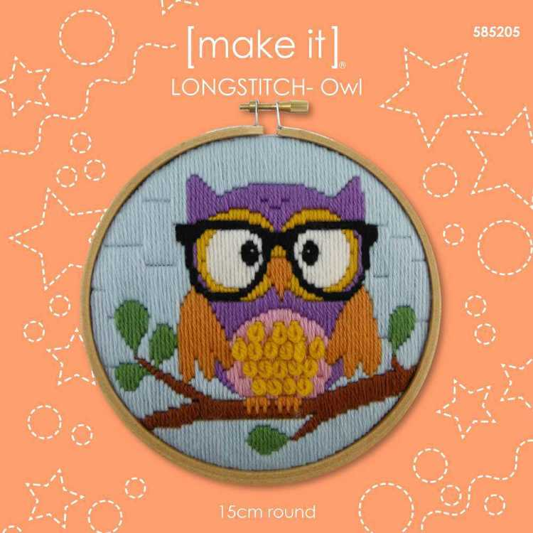 Make It Long Stitch Owl Hoop Kit