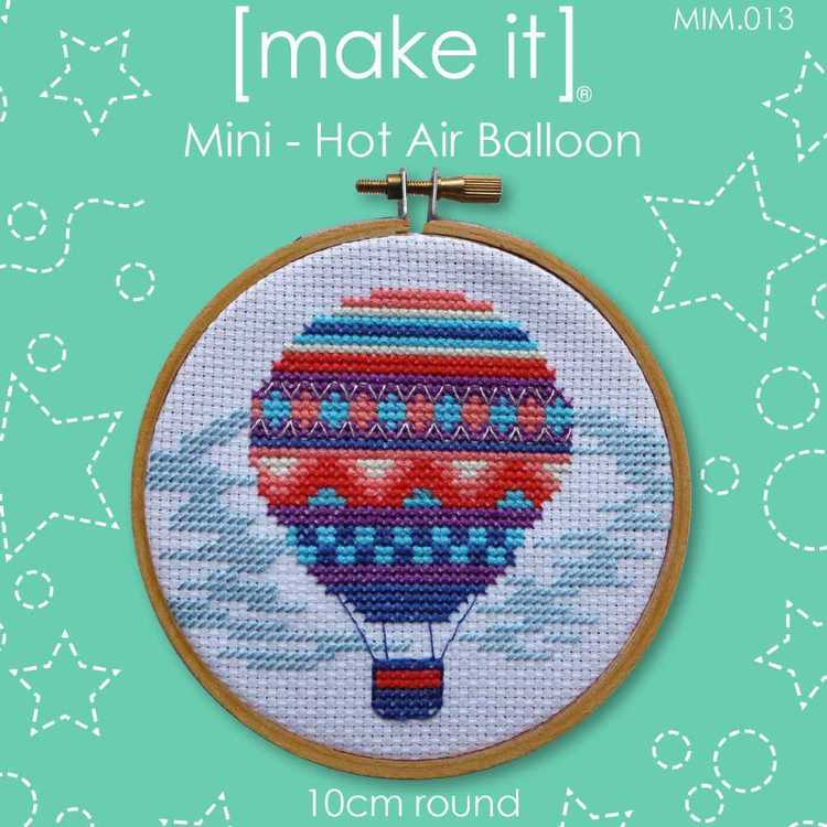 Make It Cross Stitch Hot Air Balloon Hoop Kit
