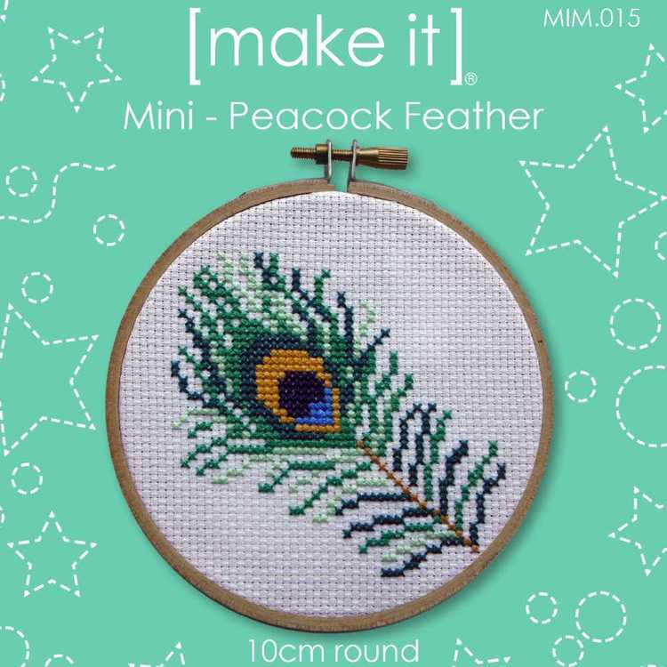 Make It Cross Stitch Peacock Feather Hoop Kit