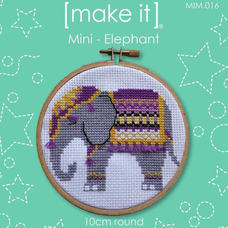 Make It Cross Stitch Elephant Hoop Kit