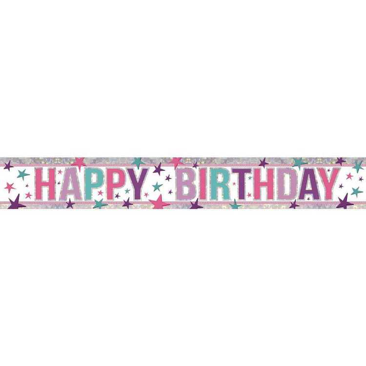 Amscan Holographic Happy Birthday Banner