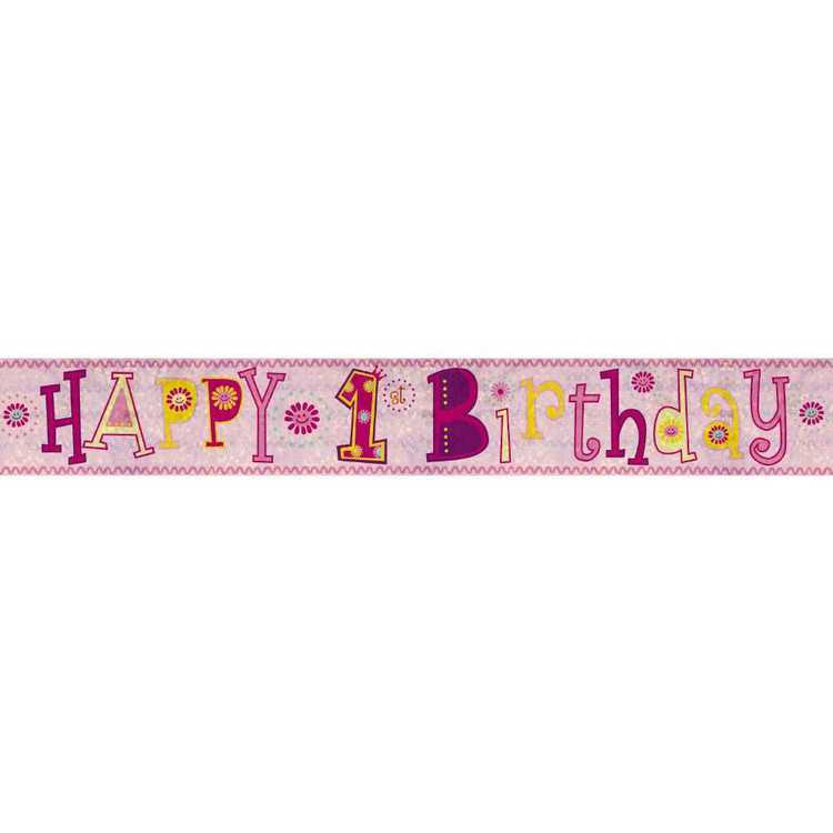 Amscan Holographic 1st Girl Happy Birthday Banner