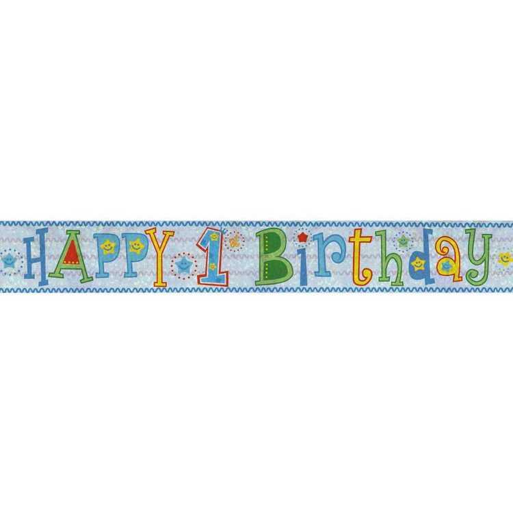 Amscan Holographic 1st Boy Happy Birthday Banner