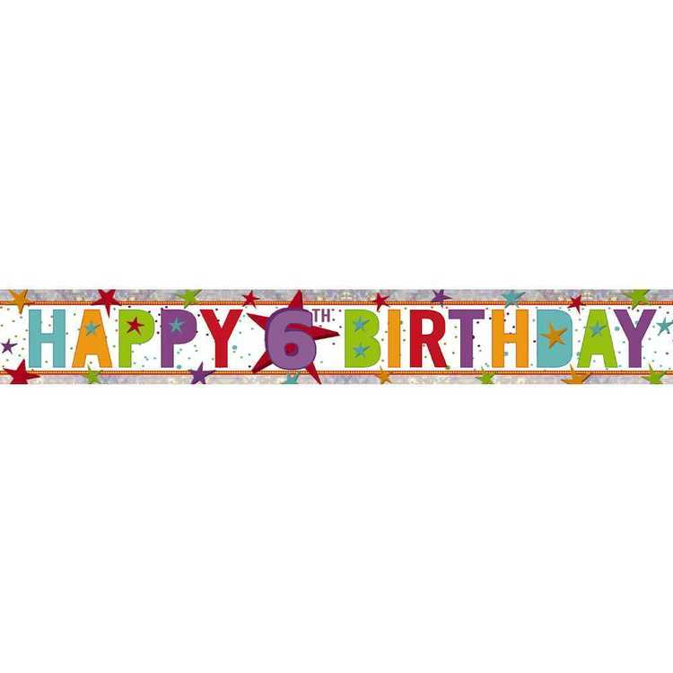 Amscan Holographic 6th Happy Birthday Banner