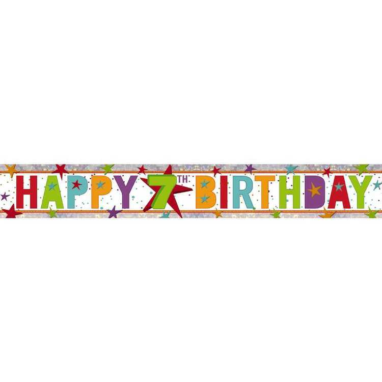 Amscan Holographic 7th Happy Birthday Banner