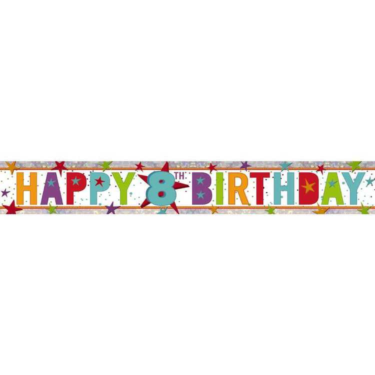Amscan Holographic 8th Happy Birthday Banner