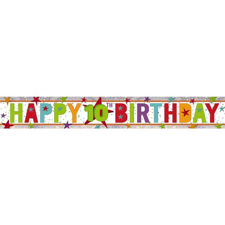 Amscan Holographic 10th Happy Birthday Banner