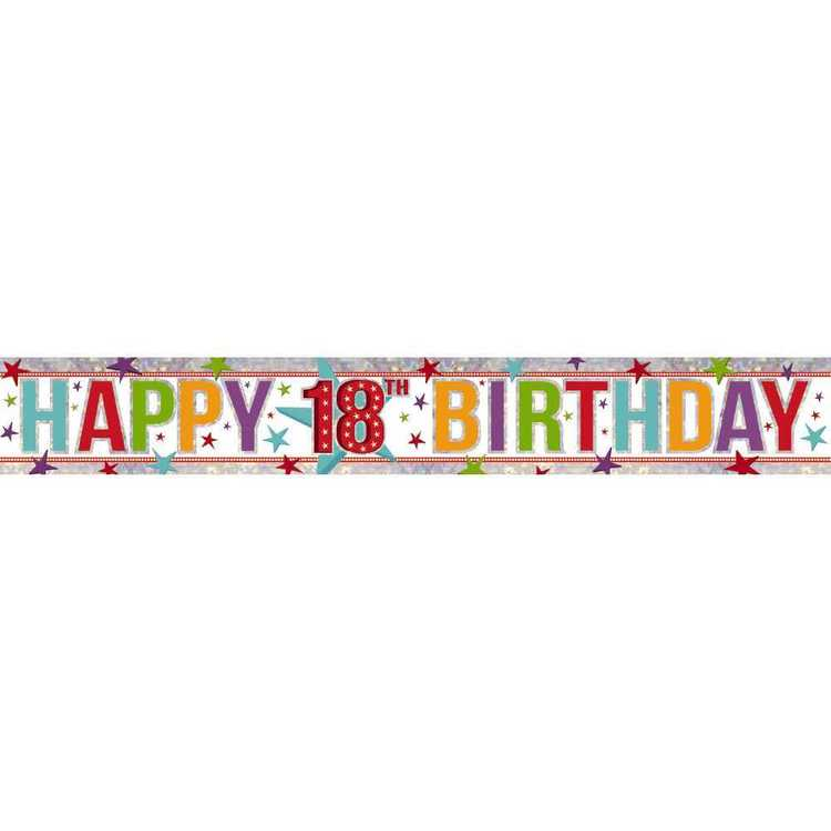 Amscan Holographic 18th Happy Birthday Banner