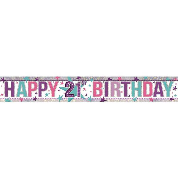 Amscan Holographic 21st Happy Birthday Banner