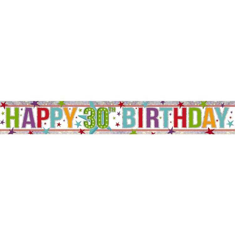 Amscan Holographic 30th Happy Birthday Banner