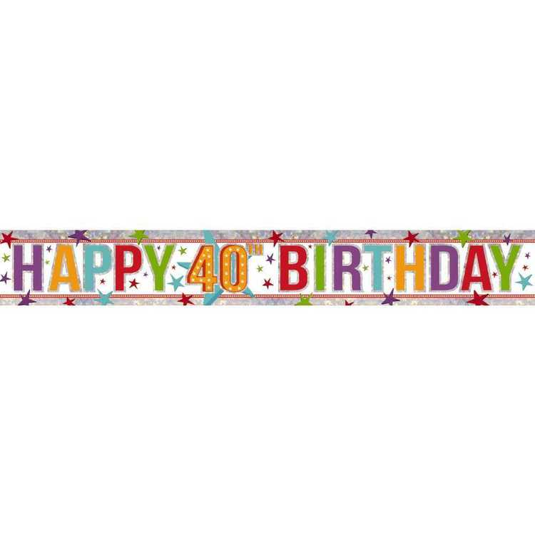 Amscan Holographic 40th Happy Birthday Banner