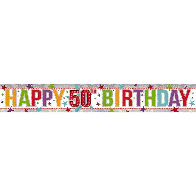 Amscan Holographic 50th Happy Birthday Banner