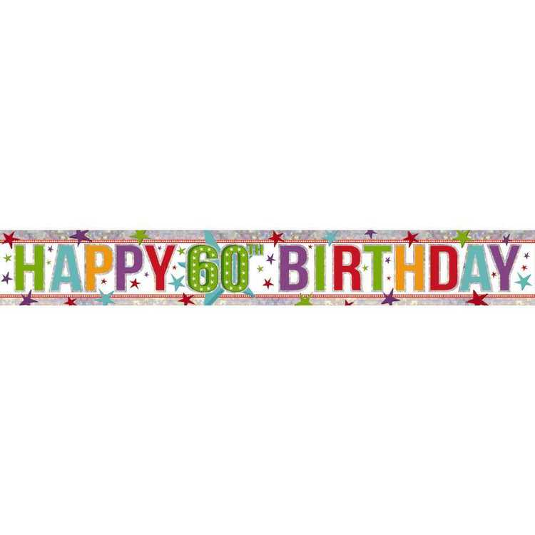 Amscan Holographic 60th Happy Birthday Banner