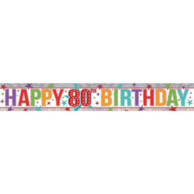 Amscan Holographic 80th Happy Birthday Banner
