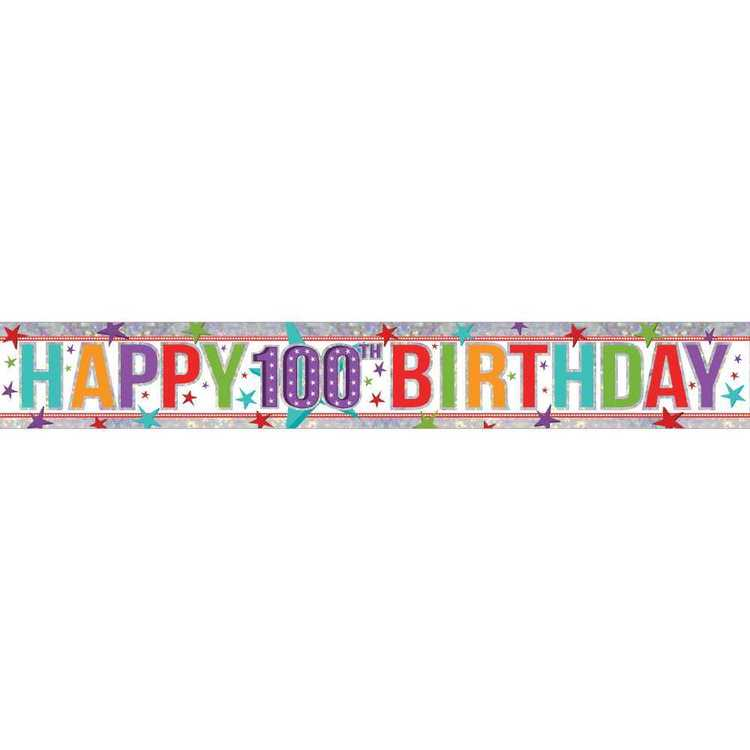 Amscan Holographic 100th Happy Birthday Banner