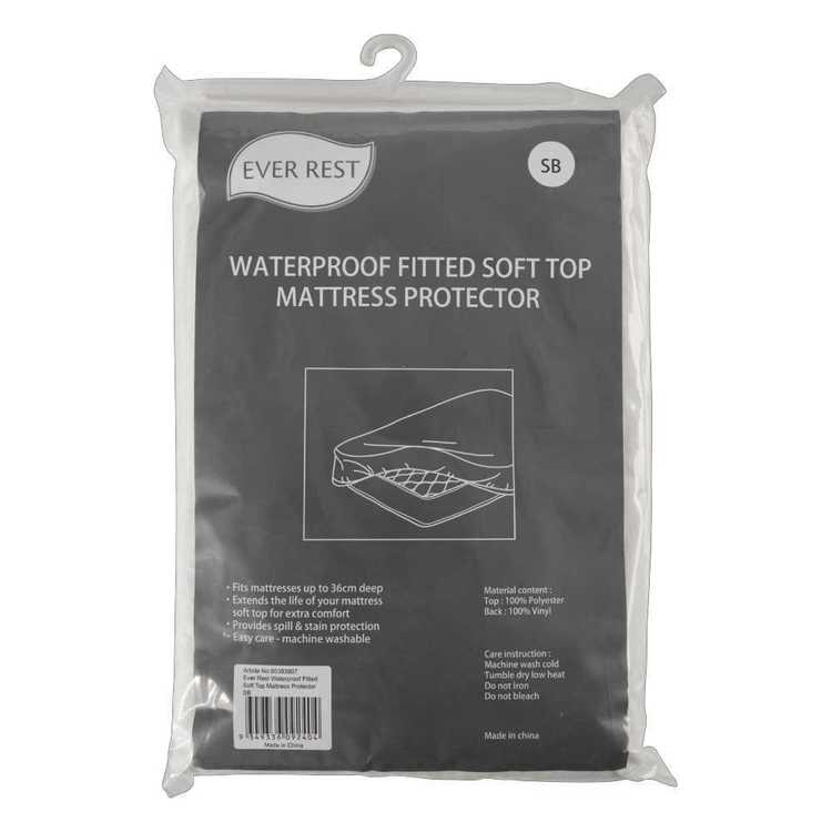 Ever Rest Waterproof Fitted Soft Top Mattress Protector White