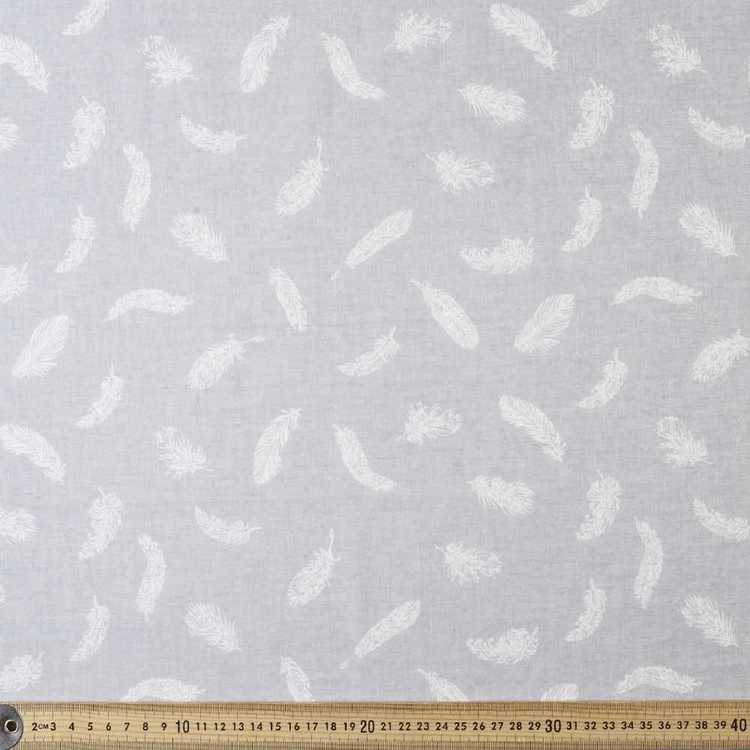 Feather Printed Muslin White & Grey 135 cm