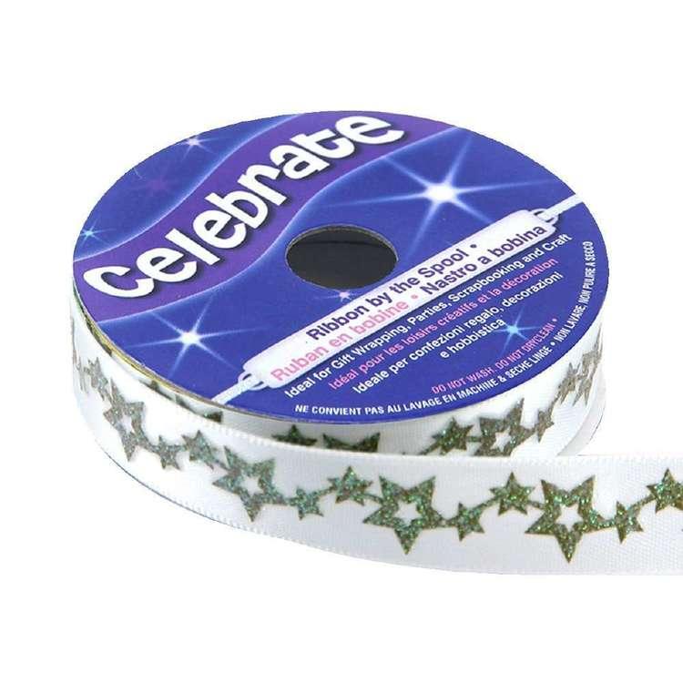 Celebrate Satin Glit Star Chain Ribbon