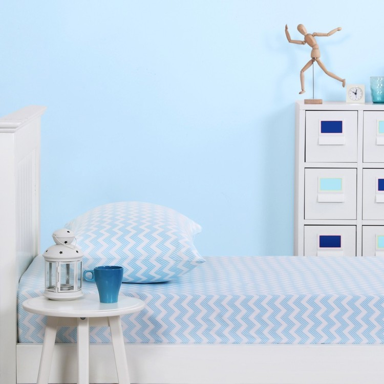 Kids House Chevron Fitted Sheet Combo Blue King Single