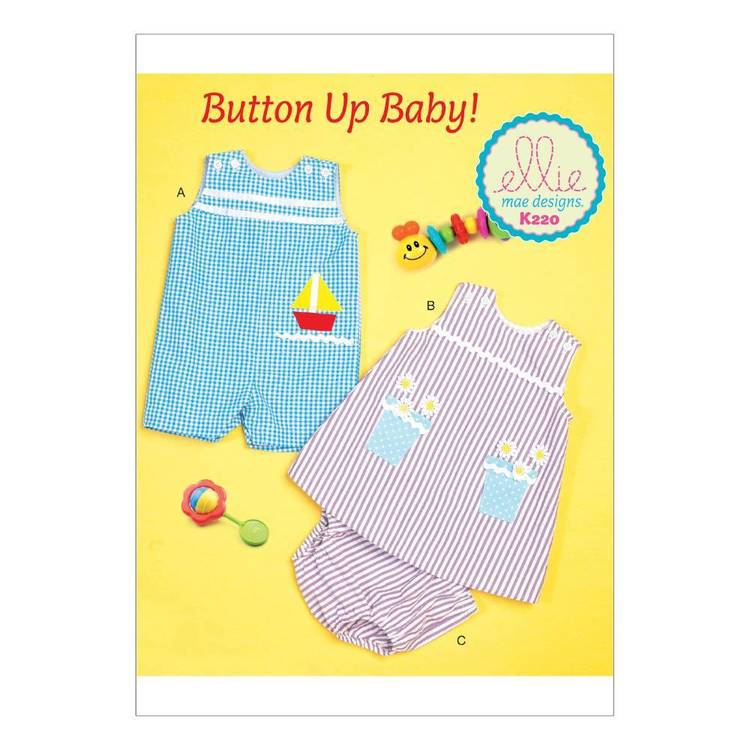 Kwik Sew Pattern K0220 Infants' Buttoned & Appliqued Overalls