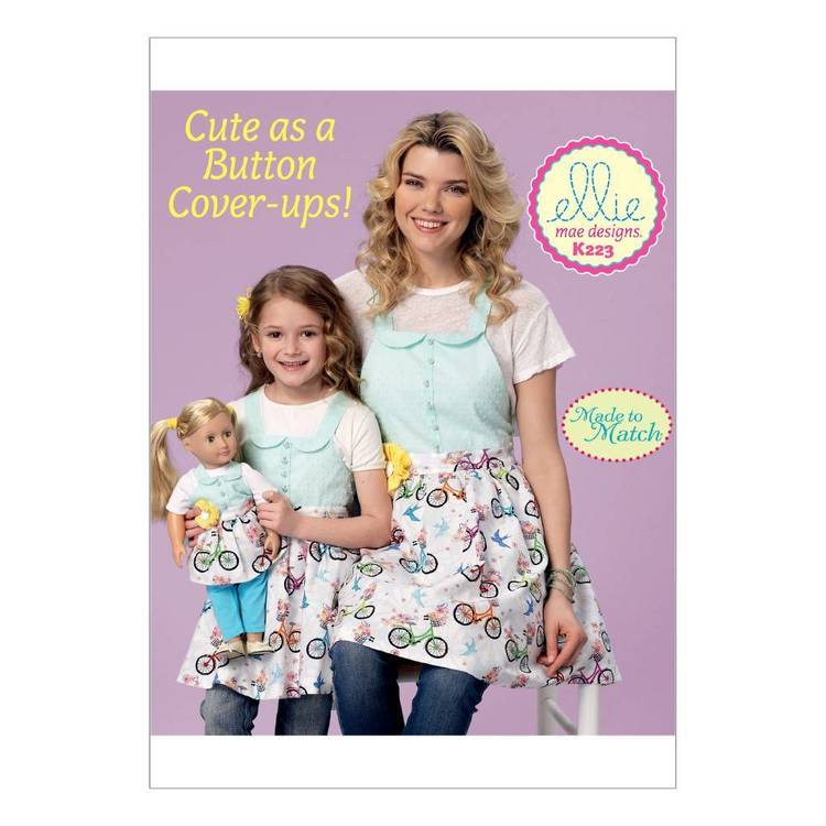Kwik Sew Pattern K0223 Misses' & Girls' & 18 In Dolls' Matching Full Aprons