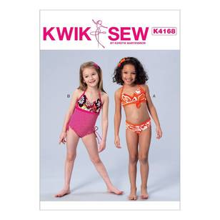 Kwik Sew Pattern K4168 Girls' Halter Bikini & One-Piece Swimsuit