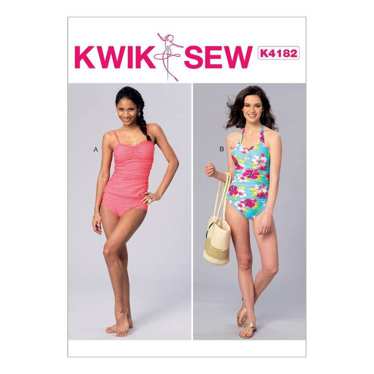 Kwik Sew Pattern K4182 Misses' Ruched Tankini & One-Piece Halter Swimsuit