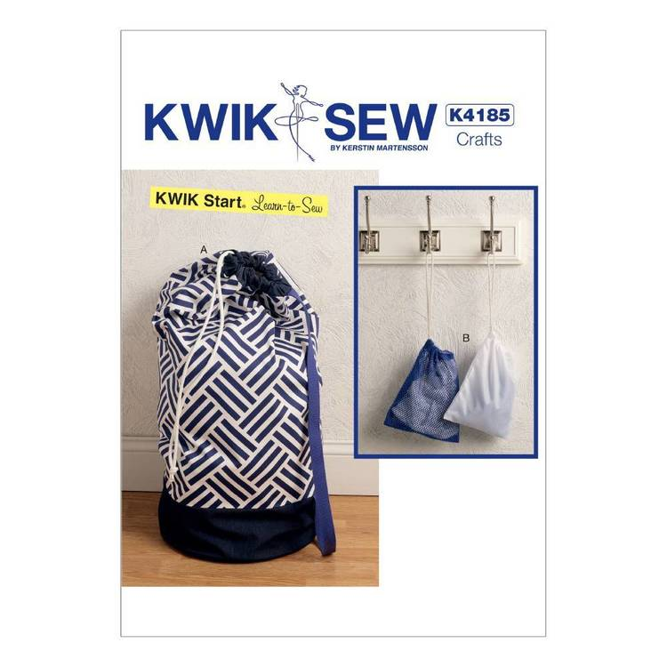 Kwik Sew Pattern K4185 Drawstring Laundry Bags in Two Sizes