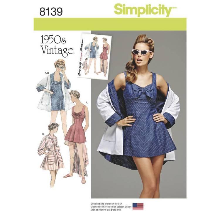 Simplicity Pattern 8139 Misses' Vintage Bathing Dress & Beach Coat