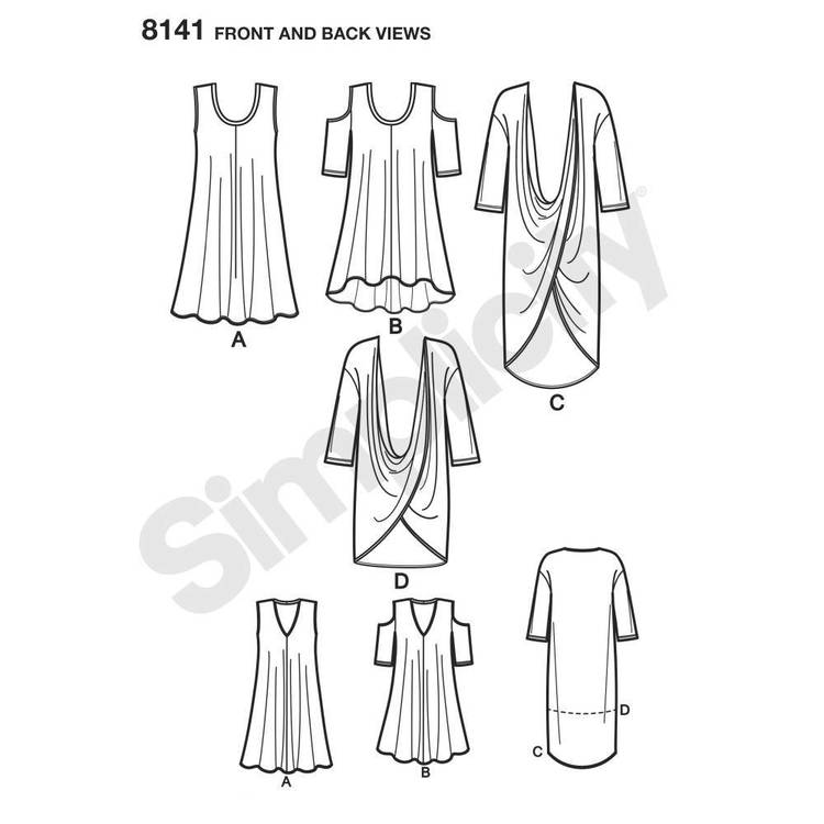 Simplicity Pattern 8141 Plus Size Knit Tunics & Mini Dress