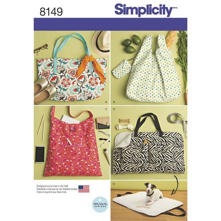 Simplicity Pattern 8149 Totes & Dog Travel Bed