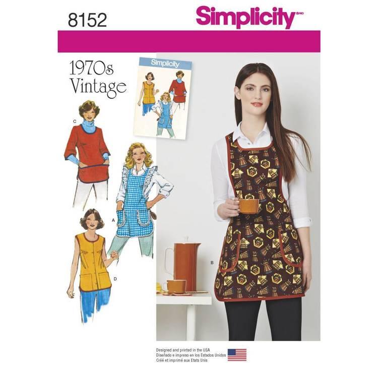 Simplicity Pattern 8152 Misses' Vintage 1970's Aprons