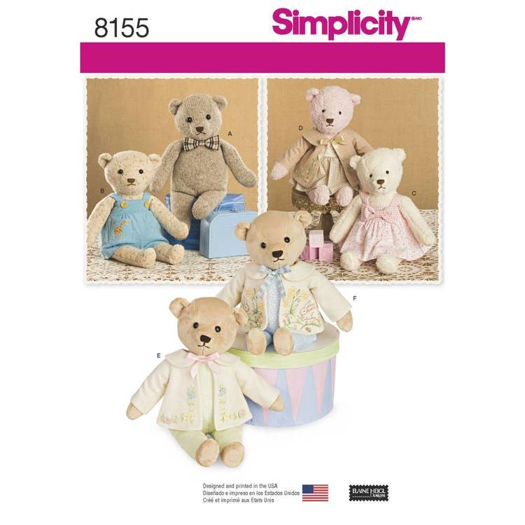 Simplicity Pattern 8155 Stuffed Bears