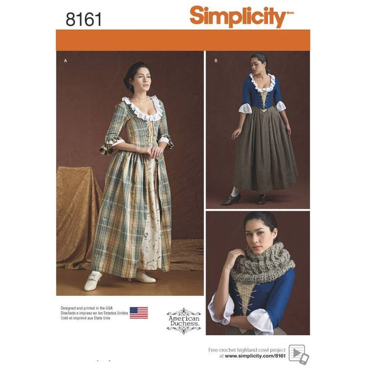 Simplicity Pattern 8161 Misses' 18Th Century Costume