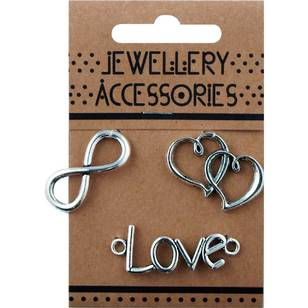 Charms Infinity Double Heart Love 3 Piece