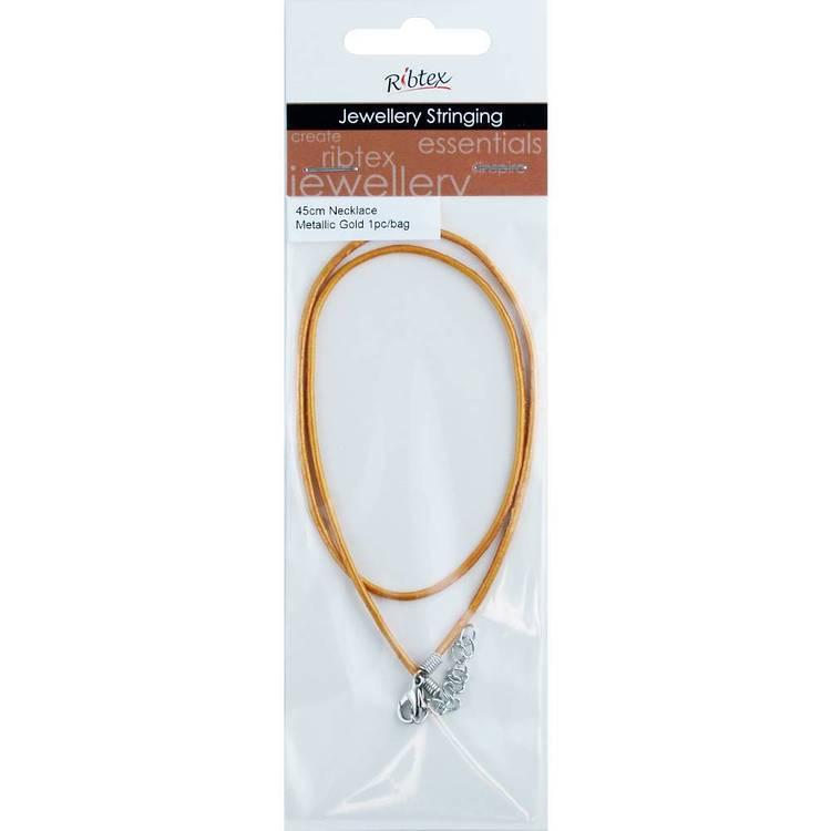 Necklace Leather Metallic 45 cm