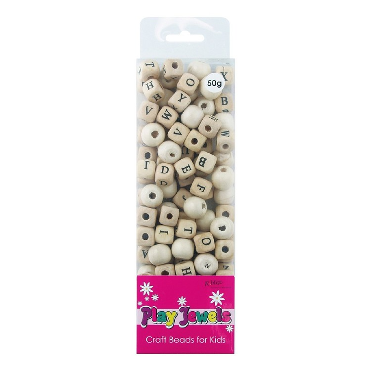 Ribtex Play Jewels Wooden Alphabet Beads