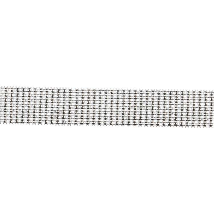 Simplicity Round Rhinestone Band Silver 34 mm
