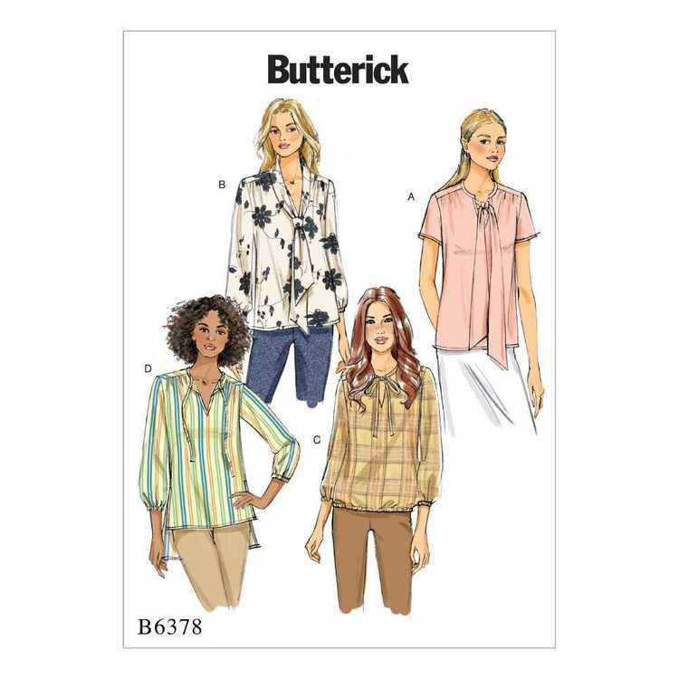 Butterick Pattern B6378 Misses' Gathered Tops and Tunics with Neck Ties