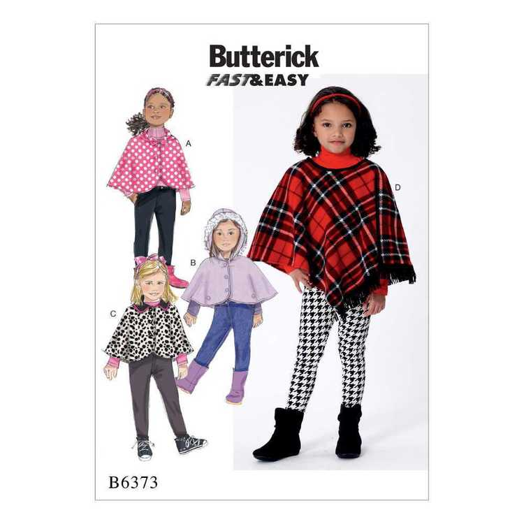 Butterick Pattern B6373 Children's/Girls' Capes and Poncho with Hood
