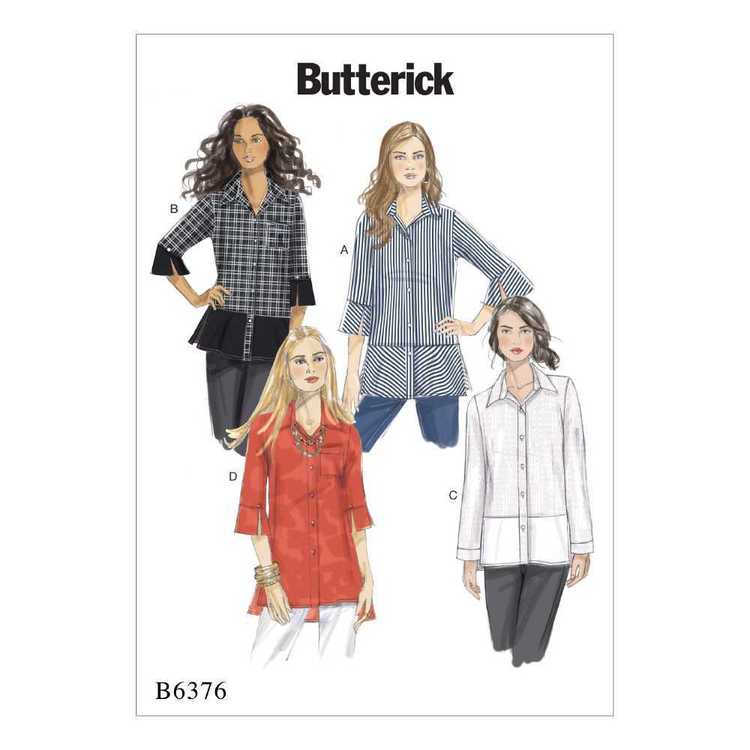 Butterick Pattern B6376 Misses' Button-Down Shirts with Side Slits