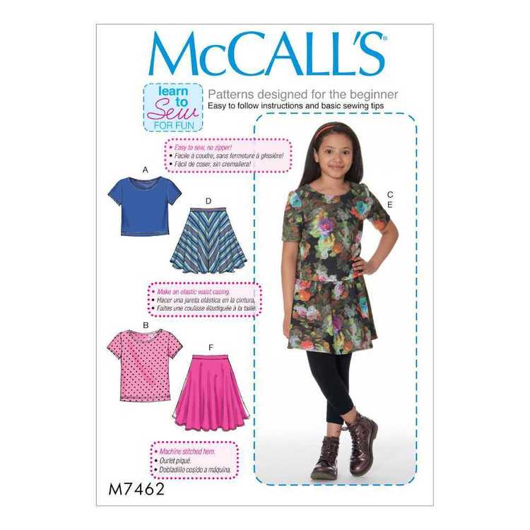 McCall's Pattern M7462 Girls & Girls Plus Tops & Skirts