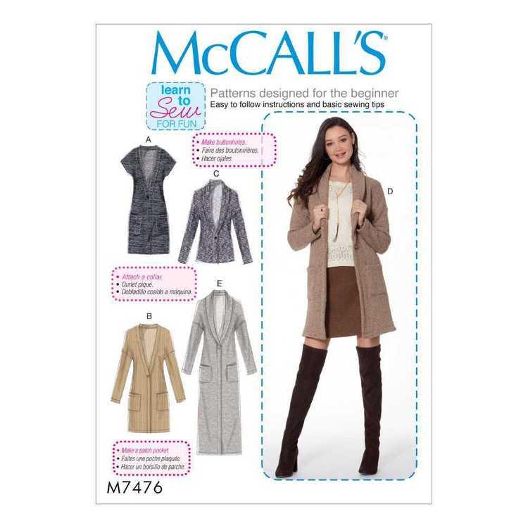 McCall's Pattern M7476 Misses Vest & Cardigans