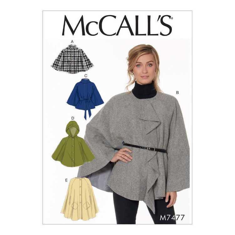 McCall's Pattern M7477 Misses Capes & Belt