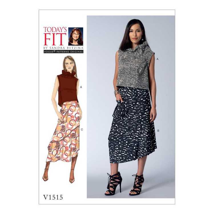 Vogue Pattern V1515 Misses Top & Skirts Green