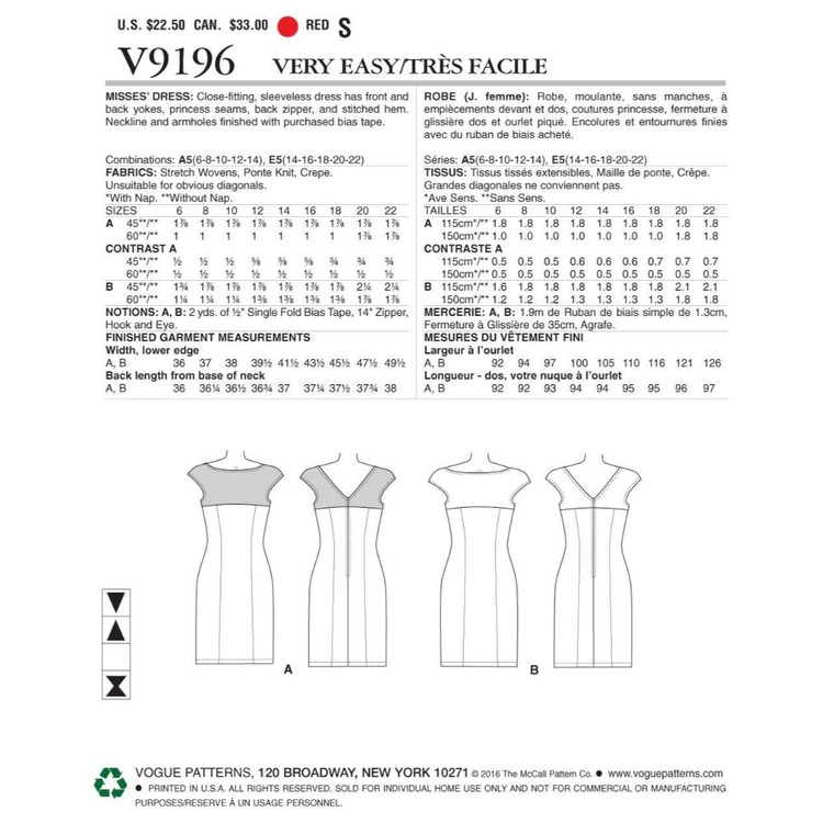 Vogue Pattern V9196 Misses Princess Dress