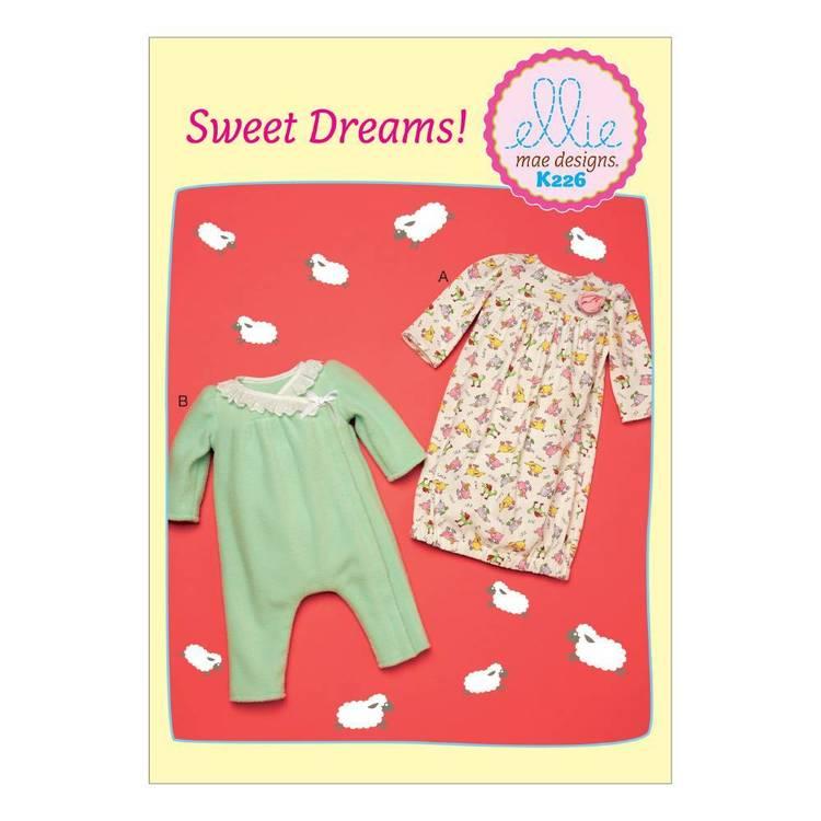 Kwik Sew Pattern K0226 Infants Gown & Jumpsuit