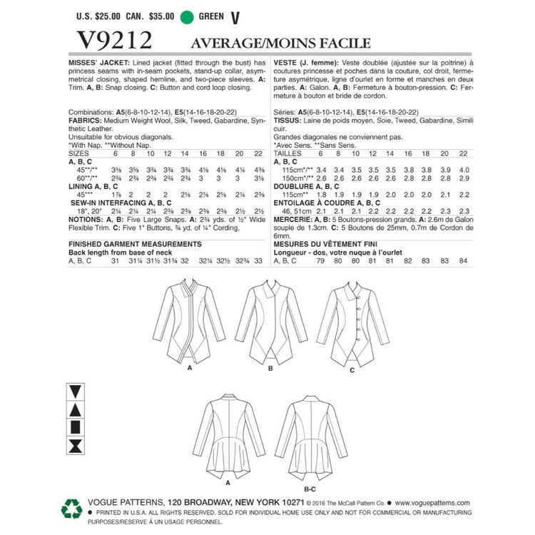 Vogue Pattern V9212 Misses Jackets