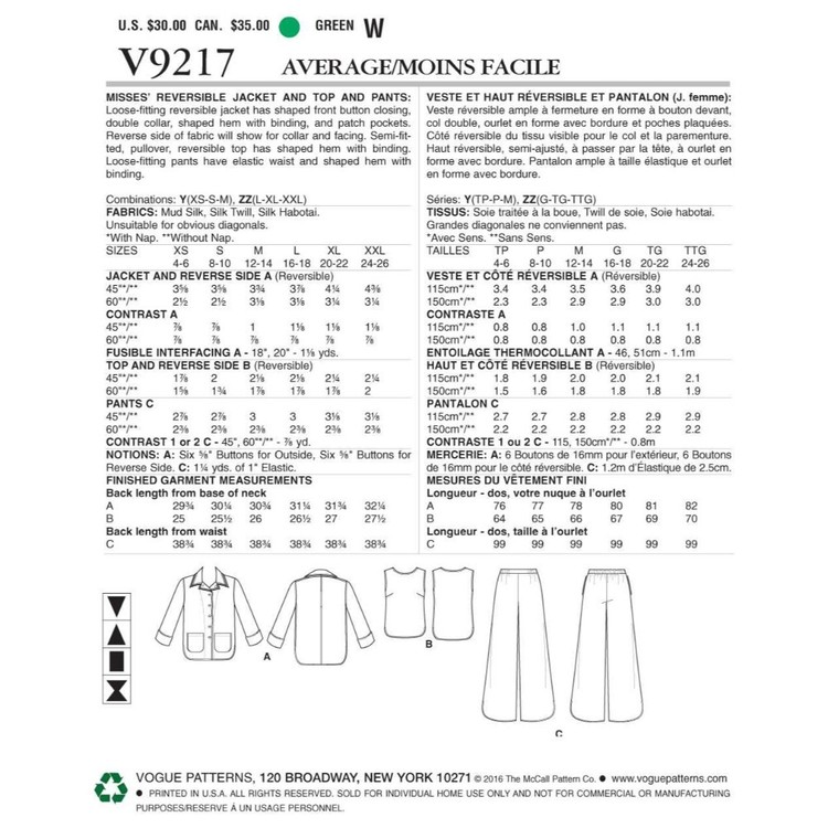 Vogue Pattern V9217 Misses Jacket