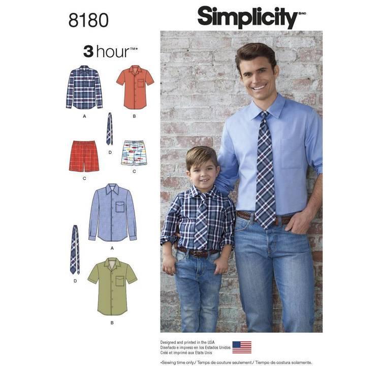 Simplicity Pattern 8180 Boys' & Men's Shirt